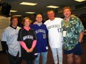Steve Kelley, April Zesbaugh, Tyler Moody, Clint Hurdle, Shannon Scott. Rockies opening day.